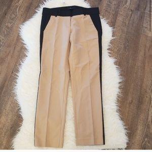 NWOT Ann Taylor colorblock tan-black ankle pants
